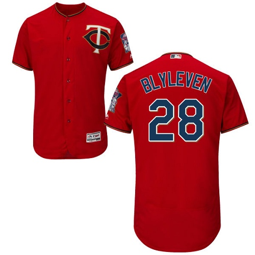 Men's Majestic Minnesota Twins #28 Bert Blyleven Authentic Scarlet Alternate Flex Base Authentic Collection MLB Jersey