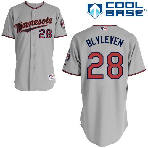 Men's Majestic Minnesota Twins #28 Bert Blyleven Replica Grey Road Cool Base MLB Jersey