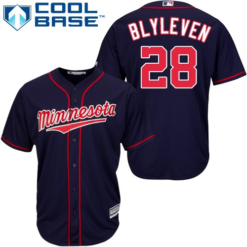 Men's Majestic Minnesota Twins #28 Bert Blyleven Replica Navy Blue Alternate Road Cool Base MLB Jersey