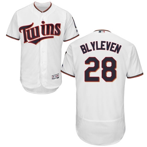 Men's Majestic Minnesota Twins #28 Bert Blyleven White Home Flex Base Authentic Collection MLB Jersey