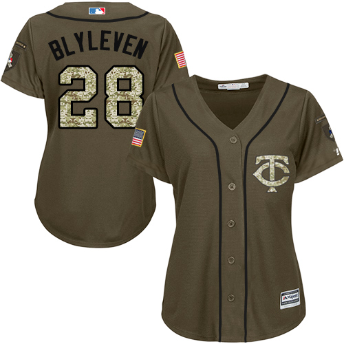 Women's Majestic Minnesota Twins #28 Bert Blyleven Authentic Green Salute to Service MLB Jersey