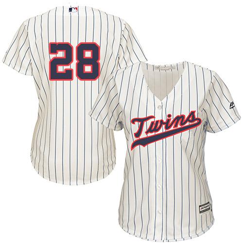 Women's Majestic Minnesota Twins #28 Bert Blyleven Replica Cream Alternate Cool Base MLB Jersey