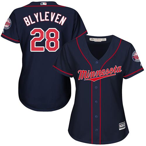 Women's Majestic Minnesota Twins #28 Bert Blyleven Replica Navy Blue Alternate Road Cool Base MLB Jersey