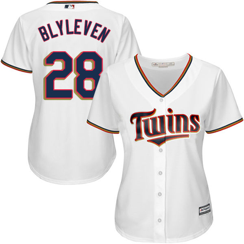 Women's Majestic Minnesota Twins #28 Bert Blyleven Replica White Home Cool Base MLB Jersey
