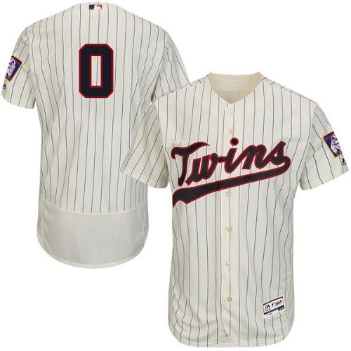 Men's Majestic Minnesota Twins #0 Erick Aybar Cream Alternate Flex Base Authentic Collection MLB Jersey