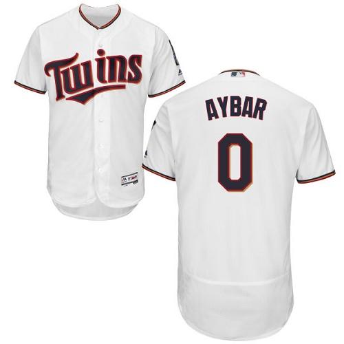 Men's Majestic Minnesota Twins #0 Erick Aybar White Home Flex Base Authentic Collection MLB Jersey