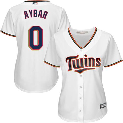 Women's Majestic Minnesota Twins #0 Erick Aybar Authentic White Home Cool Base MLB Jersey