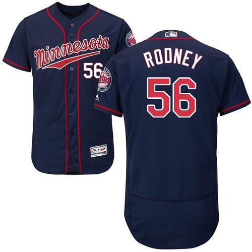 Men's Majestic Minnesota Twins #56 Fernando Rodney Navy Blue Alternate Flex Base Authentic Collection MLB Jersey