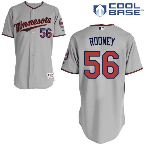 Men's Majestic Minnesota Twins #56 Fernando Rodney Replica Grey Road Cool Base MLB Jersey
