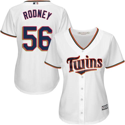 Women's Majestic Minnesota Twins #56 Fernando Rodney Replica White Home Cool Base MLB Jersey