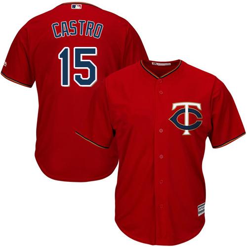 Men's Majestic Minnesota Twins #15 Jason Castro Replica Scarlet Alternate Cool Base MLB Jersey