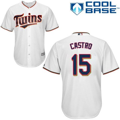 Men's Majestic Minnesota Twins #15 Jason Castro Replica White Home Cool Base MLB Jersey