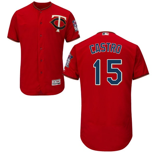 Men's Majestic Minnesota Twins #15 Jason Castro Scarlet Alternate Flex Base Authentic Collection MLB Jersey