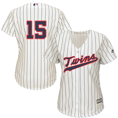Women's Majestic Minnesota Twins #15 Jason Castro Authentic Cream Alternate Cool Base MLB Jersey
