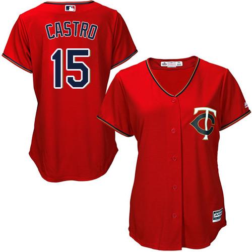 Women's Majestic Minnesota Twins #15 Jason Castro Replica Scarlet Alternate Cool Base MLB Jersey