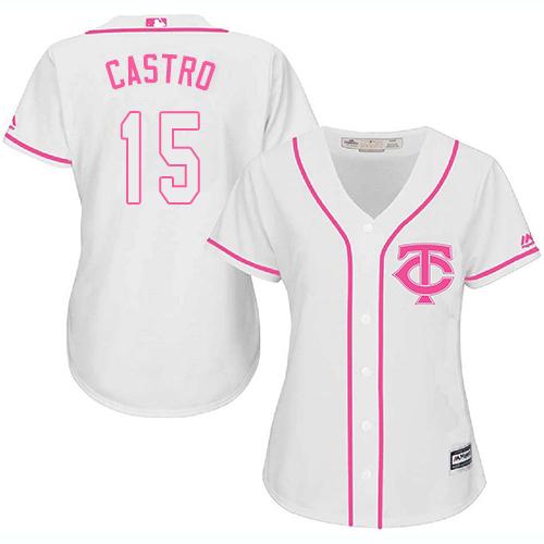 Women's Majestic Minnesota Twins #15 Jason Castro Replica White Fashion Cool Base MLB Jersey