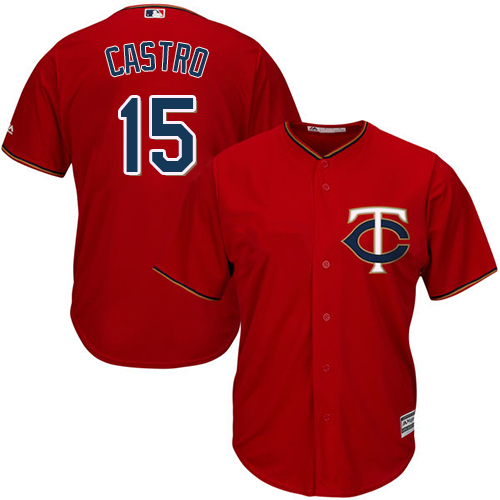 Youth Majestic Minnesota Twins #15 Jason Castro Authentic Scarlet Alternate Cool Base MLB Jersey
