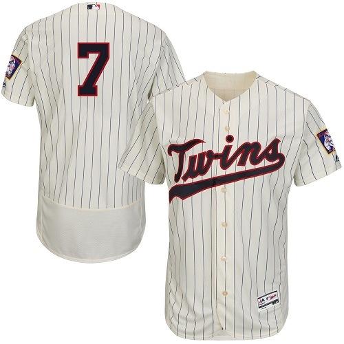 Men's Majestic Minnesota Twins #7 Joe Mauer Authentic Cream Alternate Flex Base Authentic Collection MLB Jersey