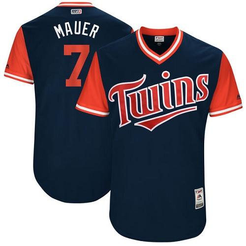 Men's Majestic Minnesota Twins #7 Joe Mauer