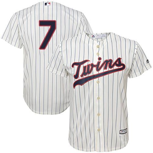 Men's Majestic Minnesota Twins #7 Joe Mauer Replica Cream Alternate Cool Base MLB Jersey