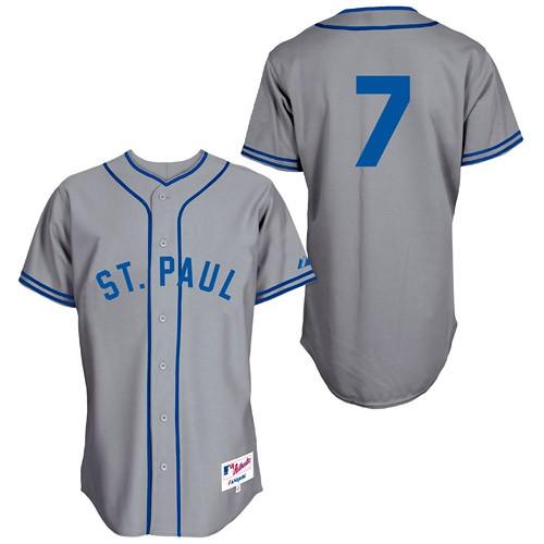 Men's Majestic Minnesota Twins #7 Joe Mauer Replica Grey 1948 St. Paul Saints Turn Back The Clock MLB Jersey