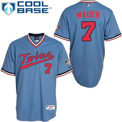 Men's Majestic Minnesota Twins #7 Joe Mauer Replica Light Blue 1984 Turn Back The Clock MLB Jersey