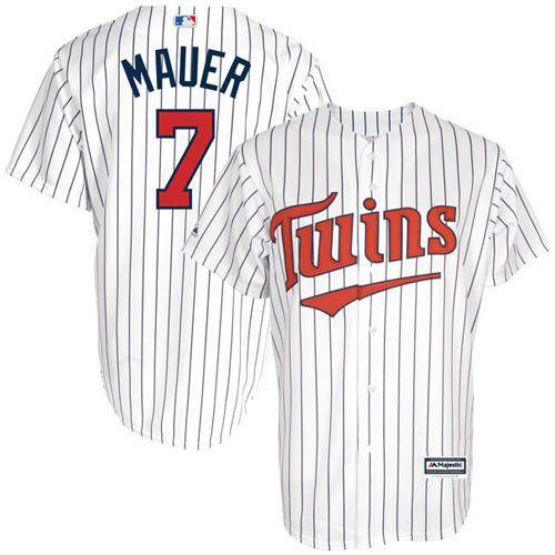 Men's Majestic Minnesota Twins #7 Joe Mauer Replica White Cool Base MLB Jersey