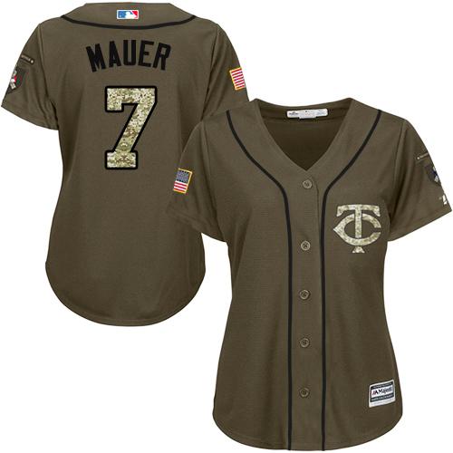 Women's Majestic Minnesota Twins #7 Joe Mauer Authentic Green Salute to Service MLB Jersey