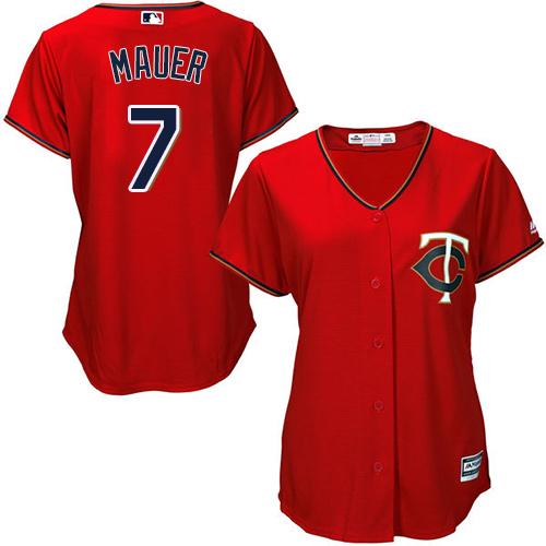 Women's Majestic Minnesota Twins #7 Joe Mauer Authentic Scarlet Alternate Cool Base MLB Jersey