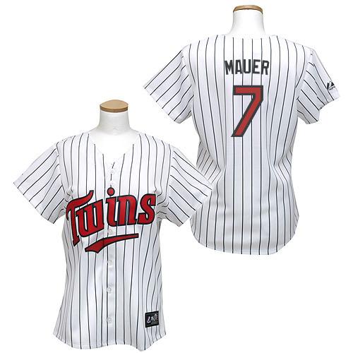 Women's Majestic Minnesota Twins #7 Joe Mauer Authentic White/Blue Strip MLB Jersey