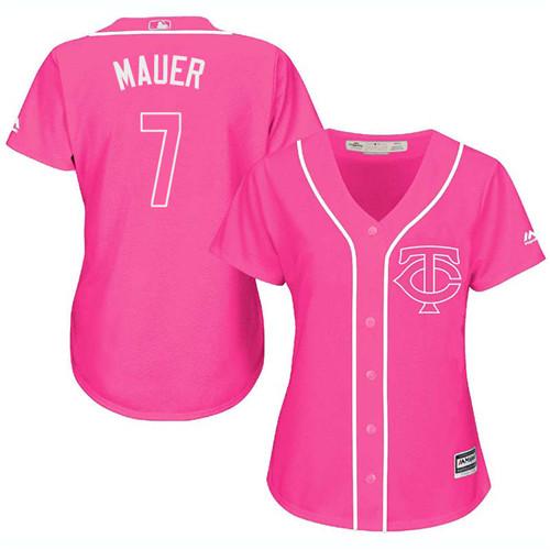 Women's Majestic Minnesota Twins #7 Joe Mauer Replica Pink Fashion Cool Base MLB Jersey