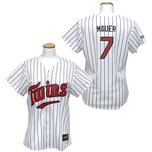 Women's Majestic Minnesota Twins #7 Joe Mauer Replica White/Blue Strip MLB Jersey