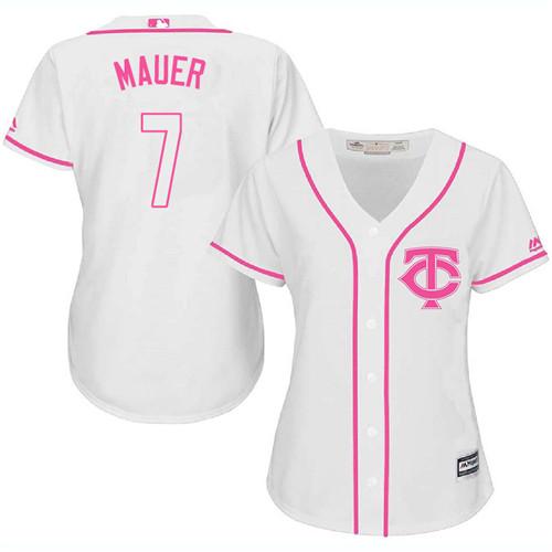 Women's Majestic Minnesota Twins #7 Joe Mauer Replica White Fashion Cool Base MLB Jersey
