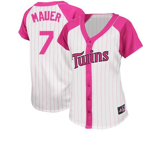 Women's Majestic Minnesota Twins #7 Joe Mauer Replica White/Pink Splash Fashion MLB Jersey
