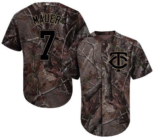 Youth Majestic Minnesota Twins #7 Joe Mauer Authentic Camo Realtree Collection Flex Base MLB Jersey