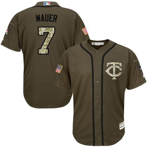 Youth Majestic Minnesota Twins #7 Joe Mauer Authentic Green Salute to Service MLB Jersey
