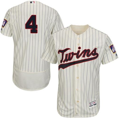 Men's Majestic Minnesota Twins #4 Paul Molitor Authentic Cream Alternate Flex Base Authentic Collection MLB Jersey