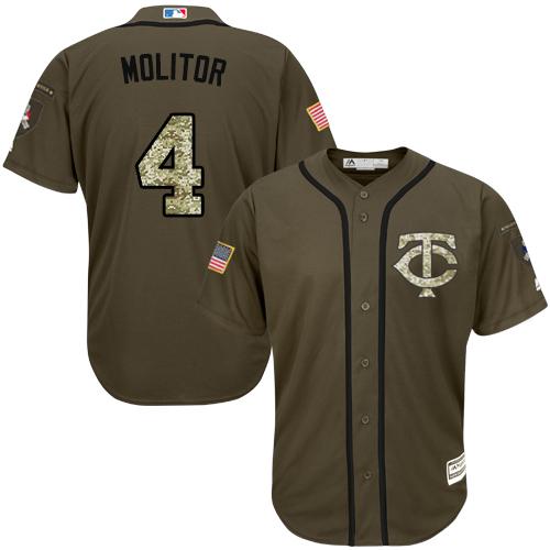 Men's Majestic Minnesota Twins #4 Paul Molitor Authentic Green Salute to Service MLB Jersey