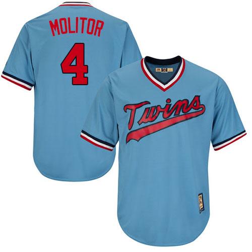 Men's Majestic Minnesota Twins #4 Paul Molitor Replica Light Blue Cooperstown MLB Jersey