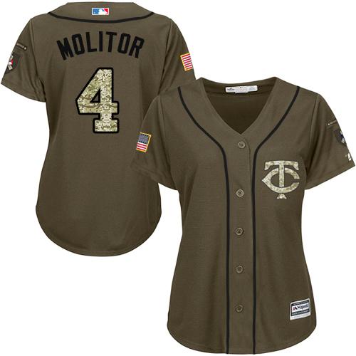 Women's Majestic Minnesota Twins #4 Paul Molitor Authentic Green Salute to Service MLB Jersey