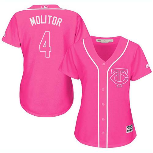 Women's Majestic Minnesota Twins #4 Paul Molitor Authentic Pink Fashion Cool Base MLB Jersey