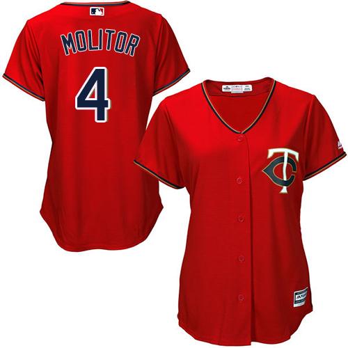 Women's Majestic Minnesota Twins #4 Paul Molitor Authentic Scarlet Alternate Cool Base MLB Jersey
