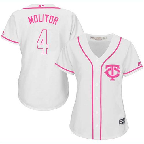 Women's Majestic Minnesota Twins #4 Paul Molitor Authentic White Fashion Cool Base MLB Jersey