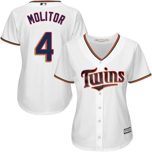 Women's Majestic Minnesota Twins #4 Paul Molitor Authentic White Home Cool Base MLB Jersey