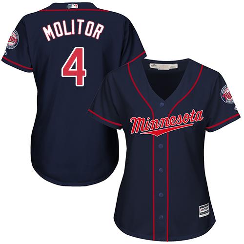 Women's Majestic Minnesota Twins #4 Paul Molitor Replica Navy Blue Alternate Road Cool Base MLB Jersey