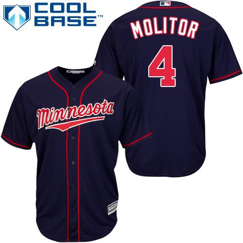 Youth Majestic Minnesota Twins #4 Paul Molitor Replica Navy Blue Alternate Road Cool Base MLB Jersey