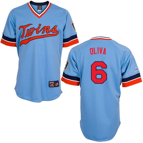 Men's Majestic Minnesota Twins #6 Tony Oliva Authentic Light Blue Cooperstown Throwback MLB Jersey