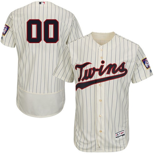 Men's Majestic Minnesota Twins Customized Authentic Cream Alternate Flex Base Authentic Collection MLB Jersey
