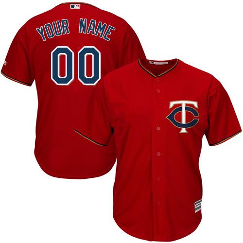 Men's Majestic Minnesota Twins Customized Replica Scarlet Alternate Cool Base MLB Jersey
