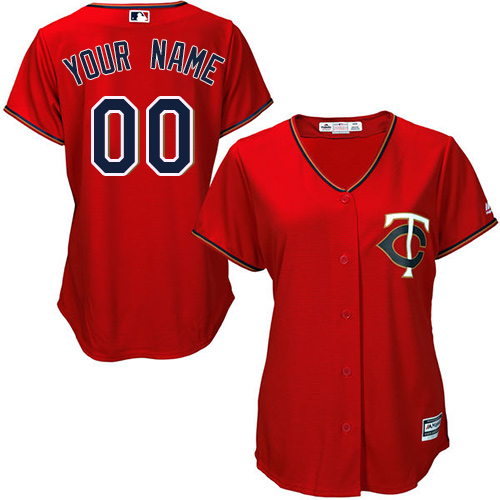 Women's Majestic Minnesota Twins Customized Replica Scarlet Alternate Cool Base MLB Jersey